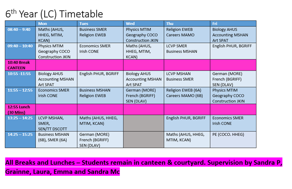 6th Year Timetable - 15th - 26th March