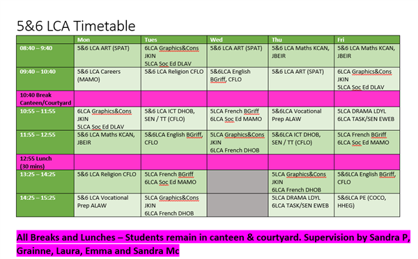LCA Timetable 15th - 26th March